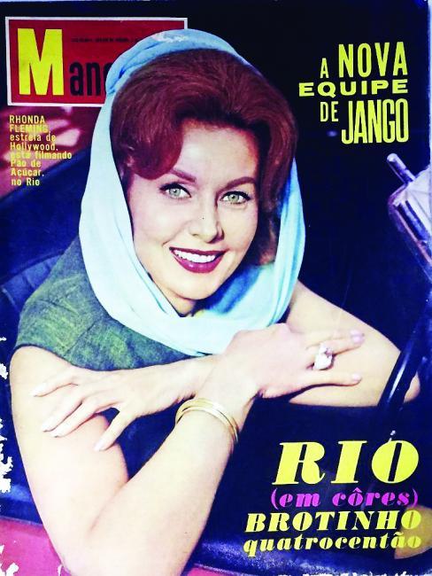"""A """"Manchete"""", uma das maiores revistas de variedades nos anos 1960, destacou na capa a vinda de Rhonda Fleming ao Brasil para filmagens"""