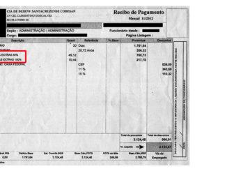 Holerite mostra que horas extras aumentavam salários em até 50%