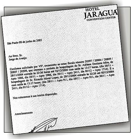 Na época, o Jaraguá informou à CPI as hospedagens de Mira e Moral