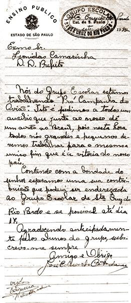 Carta foi escrita por Catalano em 1942