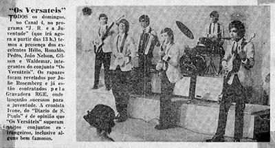 """Jornais da época publicavam notas sobre a presença de """"Os Versáteis"""" na TV"""