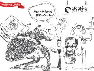 """Charge sobre a pizzaria """"Alcateia"""", de Santa Cruz"""