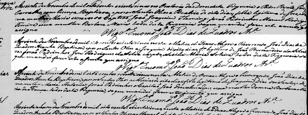 Registro de batismo de Joaquim, em Pouso Alegre, Estado de Minas Gerais, no dia 20 de novembro de 1825