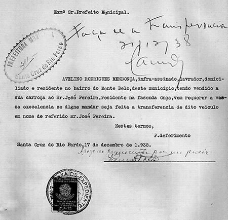 Em 1938, requerimento pede ao prefeito a transferência da carroça de Avelino Mendonça, que havia sido vendida