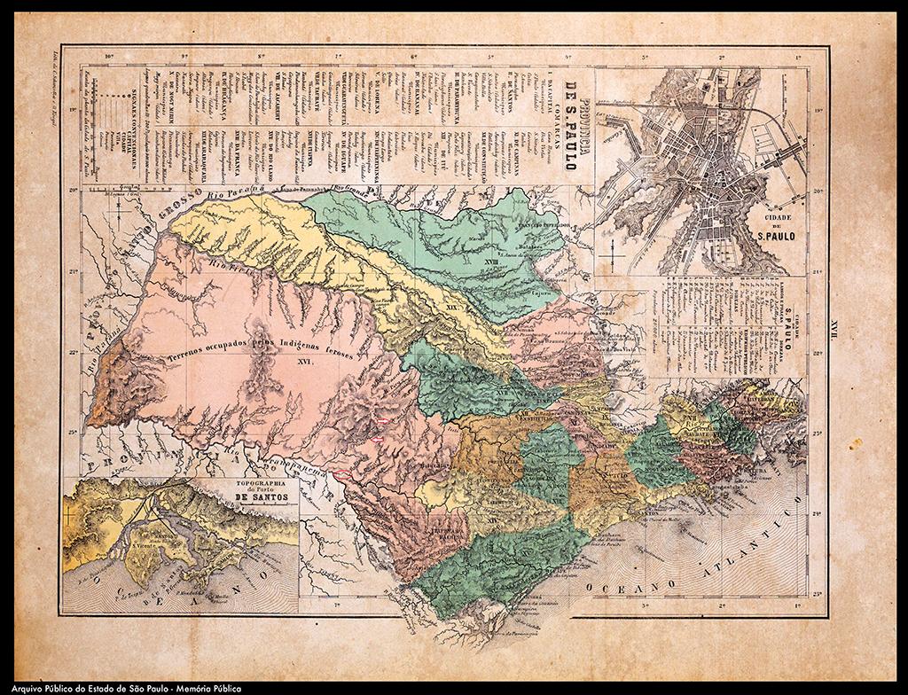 """""""A PROVÍNCIA"""" — Mapa de São Paulo da época do Império traz imprecisões, omite o Pardo e mostra trajeto errado do rio do Peixe"""